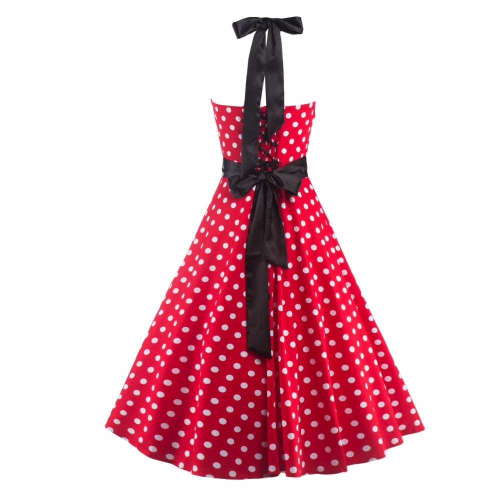 9a4ef7e5f709 New arrive Halter 50s Rockabilly Polka Dots Audrey Hepburn Dress women  Cocktail retro party rockabilly Dresses robe vestidos
