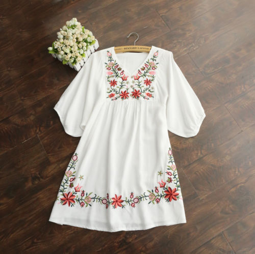 2018 Hot Sale Vintage 70s Women Mexican Ethnic Embroidered Pessant Hippie Blouse Gypsy Boho Mini Dress