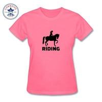 2017 Women Fashion Horse Riding Thanksgiving Day Design Short Sleeve T Shirt Fantastic Printed Tops Casual
