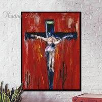 Hand Painted Oil Painting Retro Classic Jesus Christian Cross Living Room Vestibule Church Aisle Hanging Picture
