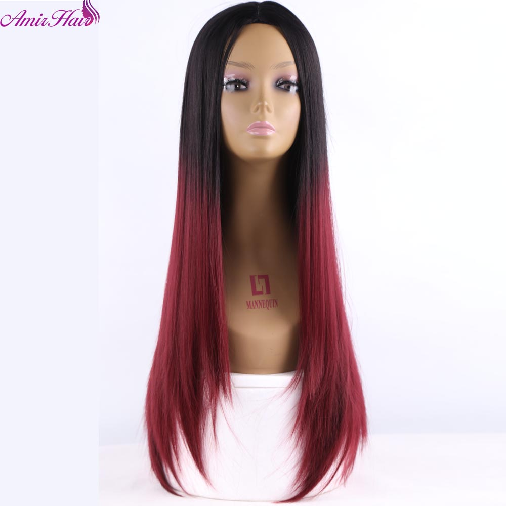 Amir Hair Long Synthetic Straight hair Wigs with 24inch Ombre grey and dark green Women Wigs for cosplay or party