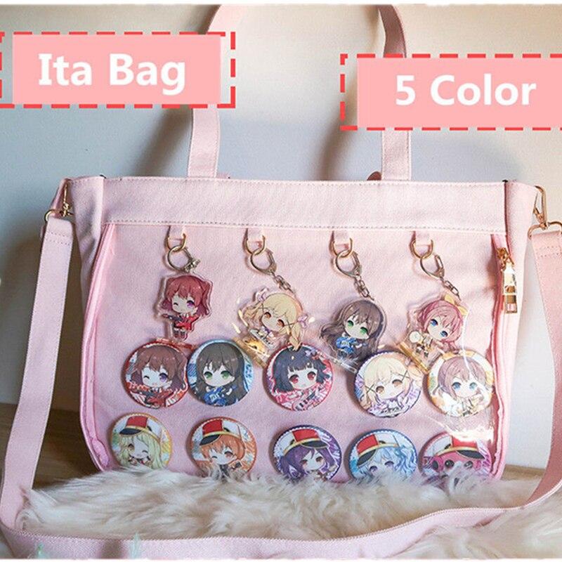 Japanese Lolita Transparent Shoulder Bag Canvas Single Side Transparency Handbag For Dango Badge Show Ita Bag JK Cosplay
