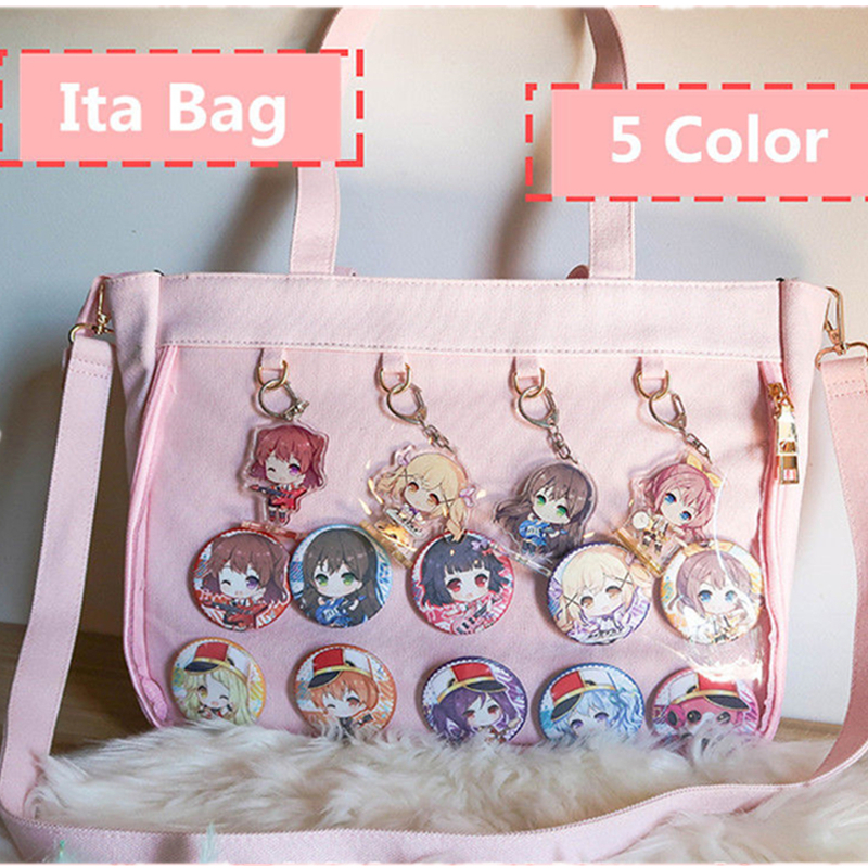 Japanese Lolita Transparent Shoulder Bag Canvas Single Side Transparency Handbag For Dango Badge Show Ita Bag JK Cosplay