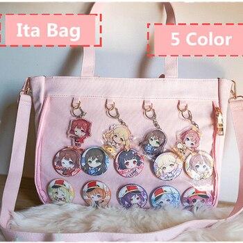 Japoński Lolita przezroczysta torba na ramię płótno jednostronnie przezroczysta torebka dla Dango odznaka pokaż Ita torba JK Cosplay