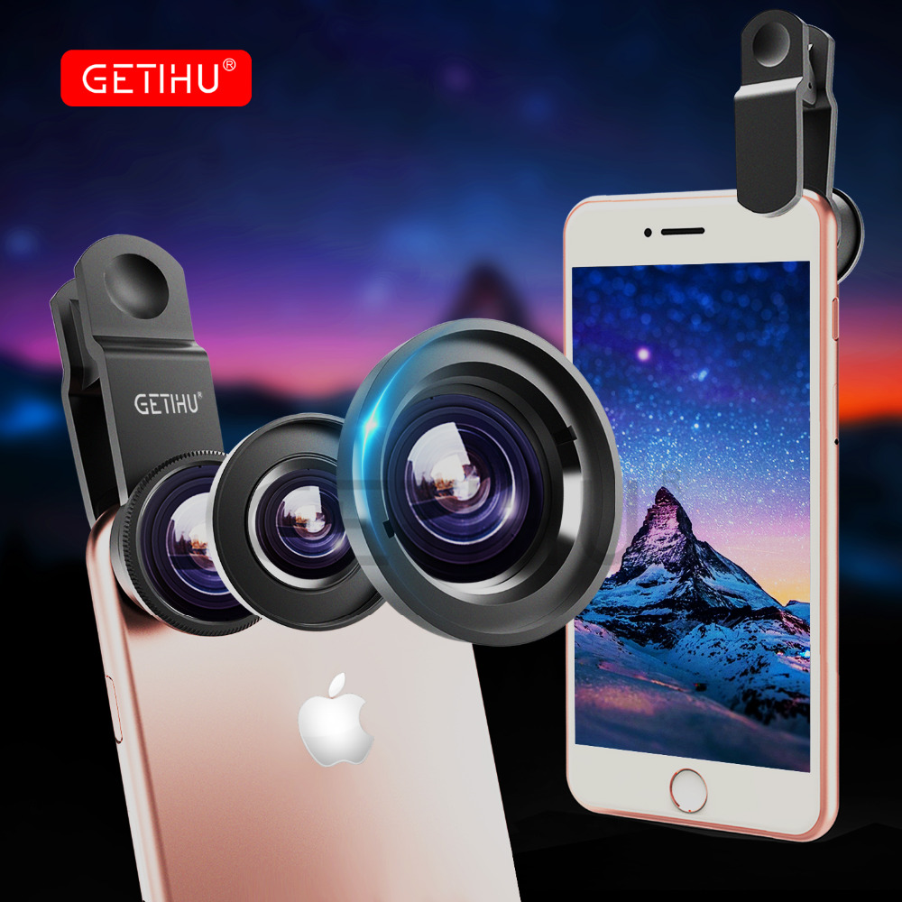 Universal 3 in 1 Wide Angle Macro Fisheye Lens Camera Mobile Phone Lenses Fish Eye Lentes For iPhone X 6S Smartphone Microscope