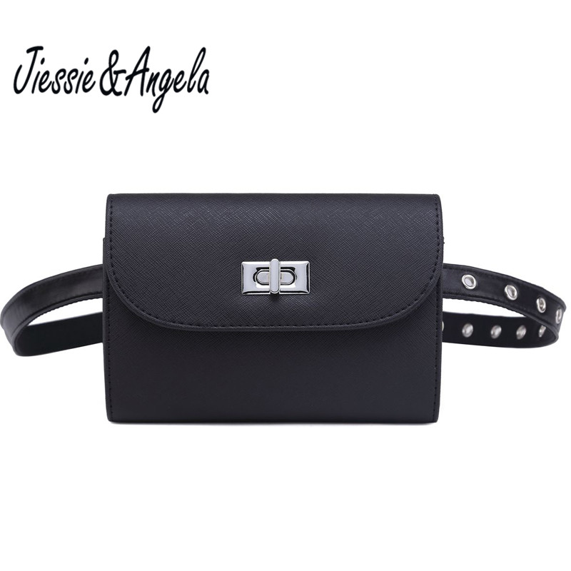 def3853b5020 US $12.89 59% OFF Jiessie & Angela Women Leather Waist Bag Fashion Fanny  Pack Belt Bag Waist Packs Phone Pouch Bags Travel Waist Pack-in Waist Packs  ...
