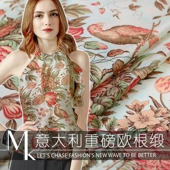 Digital printing silk organza satin fabric 14mm crisp translucent awning dress chinese silk fabric wholesale silk cloth