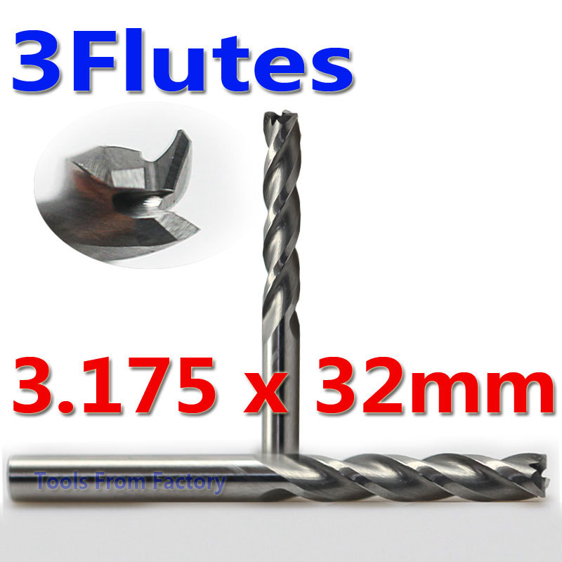 2pcs 3*32mm 3 Flutes Mill carbide Engraving Cutter Cutting Bits Milling Tools on Cutting Carving Hard Wood, MDF, Acrylic, PVC 1pc 1 8 helical milling cutter cutting 3 flute router bits for acrylic wood plastic milling cutting tools