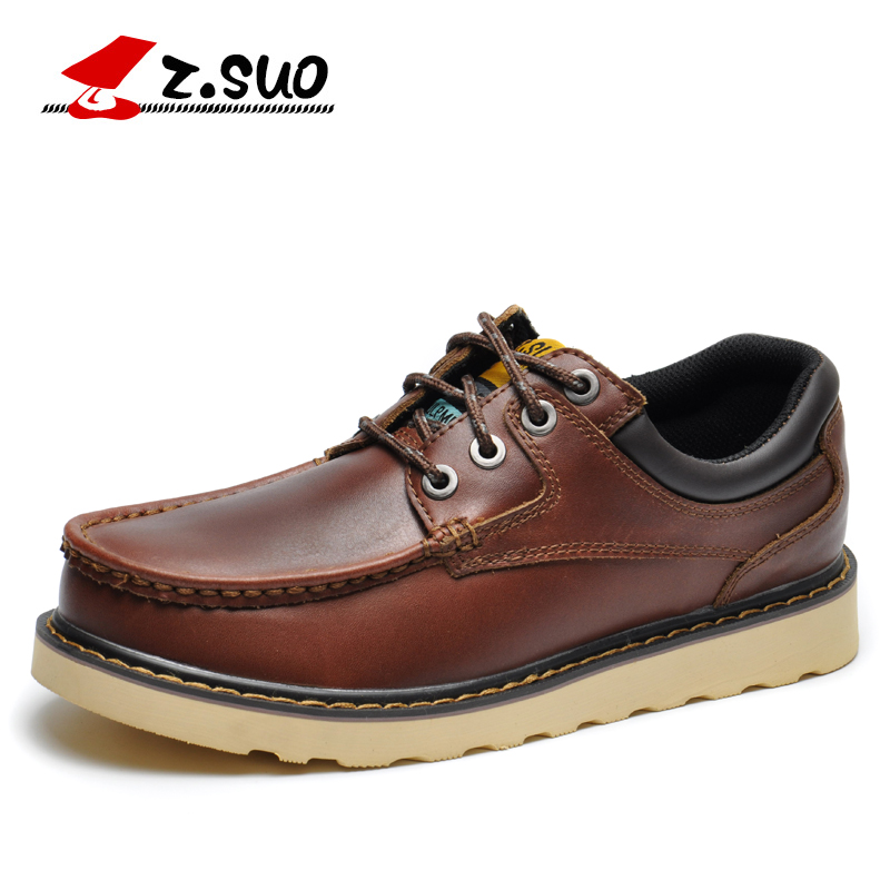 Z.SUO Big Size 45 46 Genuine Leather Mens Shoes Lace-up Men Casual Shoes Leather Shoes Flat Tooling Male Oxfords Shoes big size men work casual shoes fashion mens loafers luxury genuine leather lace up flat father driving shoes lmx b0024