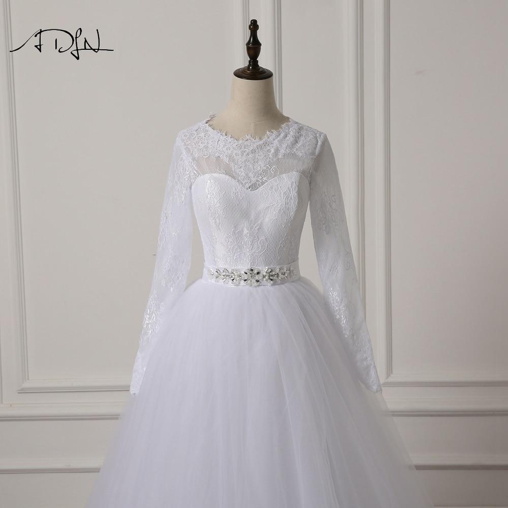 ADLN Elegant Scoop rochie de mireasa cu maneca lunga Lace A-line Alb - Rochii de mireasa - Fotografie 4