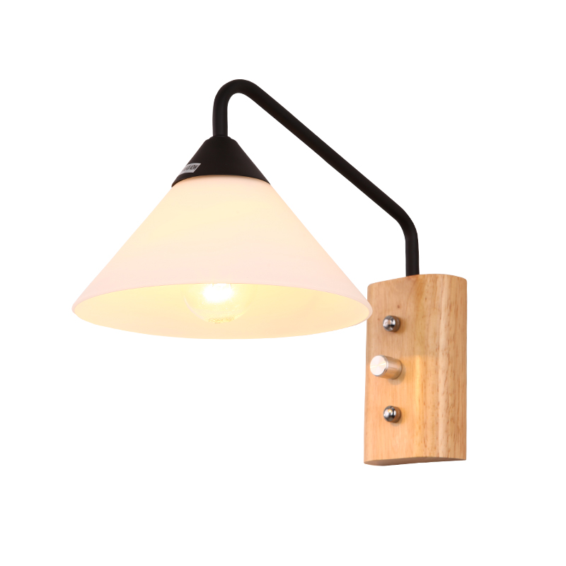 купить  Modern Nordic Sconce Wood Wall Lights Fixtures LED Black White Wall Lamp Down for Home Lighting Indoor Bedside Stair Bedroom  недорого