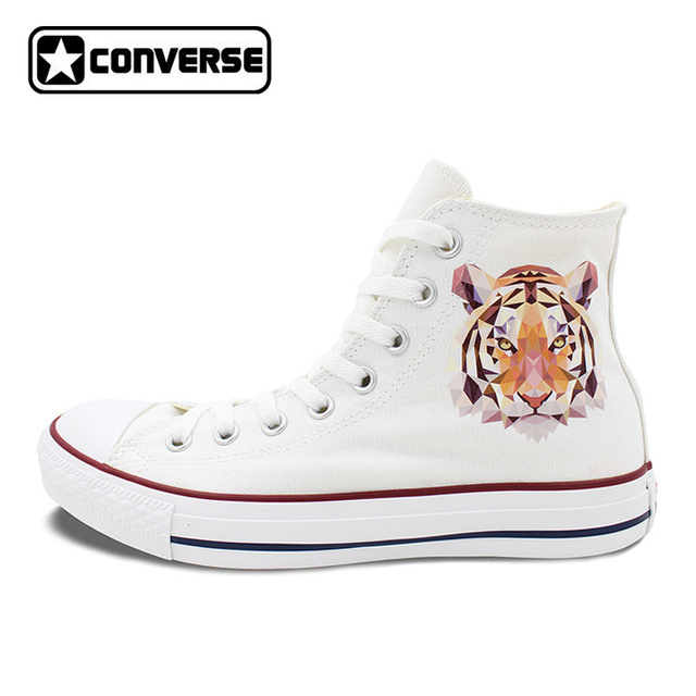 Diamant Tigre Converse All Star Chaussures Hommes Femmes High Top Blanc  Toile Sneakers Unique D'