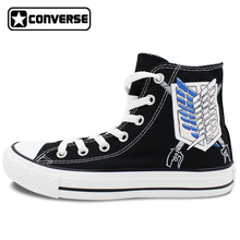 Scout Regiment Attack on Titan Converse All Star Design Hand Painted Shoes Custom High Top Black Canvas Sneakers Birthday Gifts