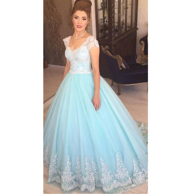 Light Sky Blue Color Wedding Dresses With Cap Sleeves A Line