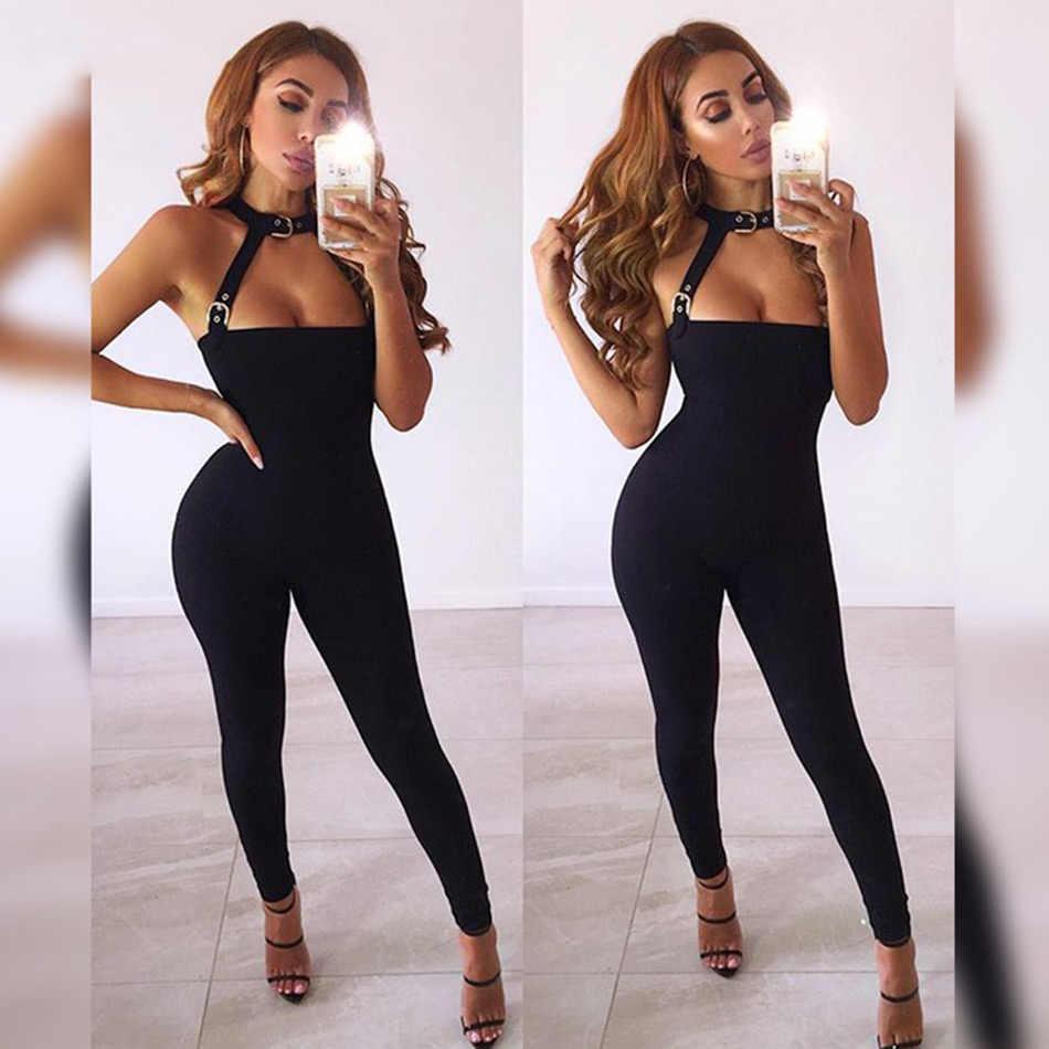 6c8f7c294d61 ... Seamyla New Bandage Jumpsuit 2019 Women s Jumpsuit Sexy Bodycon Wear Hot  Romper Celebrity Party Jumpsuit Black ...