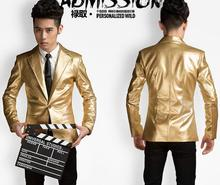 S-5XL ! 2017 New Men's clothing fashion sliver and gold leather suit jacket coat formal dress stage singer costumes
