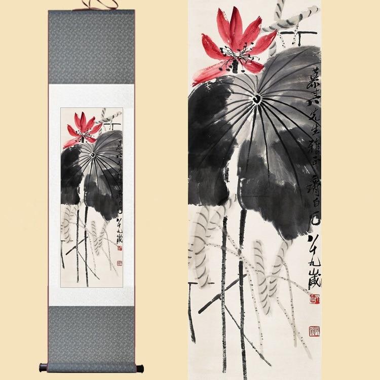 Aquarelle en soie chinoise Qi Baishi encre fleur lotus feuille impression feng shui art mur photo damassé encadré défilement toile peinture