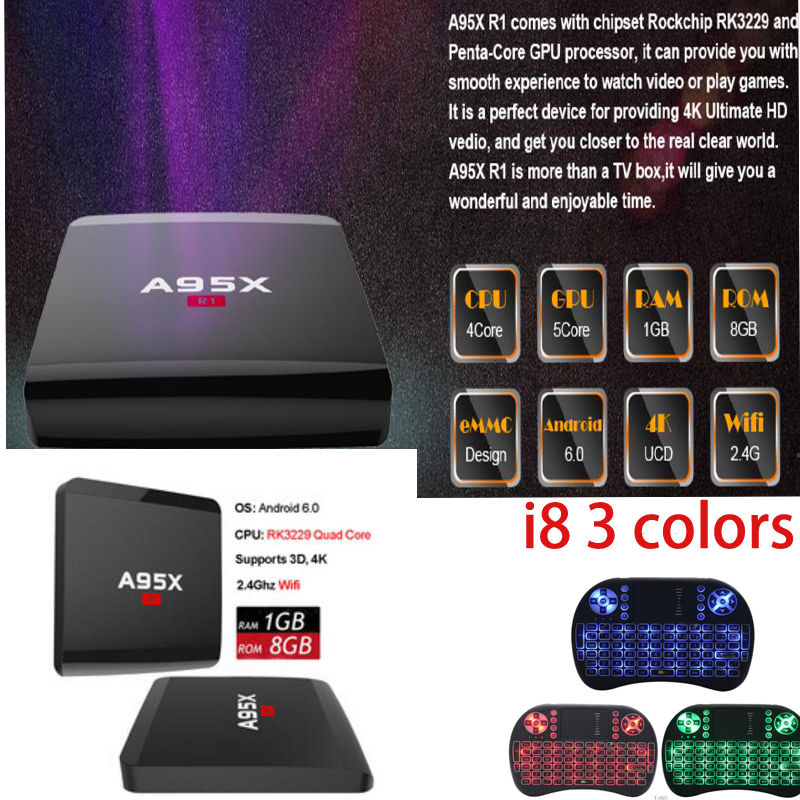 NEXBOX A95X R1 20pcs Android TV box vs T95X T9N Rockchip RK3229 Quad Core A95X R1 Android6.0 TV BOX PK DOLAMEE D5 alfawise a95x r1 tv box