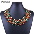 Pusheng 2017 Bohemia Maxi Necklace Fashion Crystal Resin Beads Choker Necklace Women Statement Necklace Collars Jewelry Gift