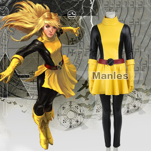 Marvel X-Men Magik Cospaly Costume Comics Superhero Outfit Yellow Dress  Adult Women Full Set Halloween Party Cosplay Costume e240a3c1f