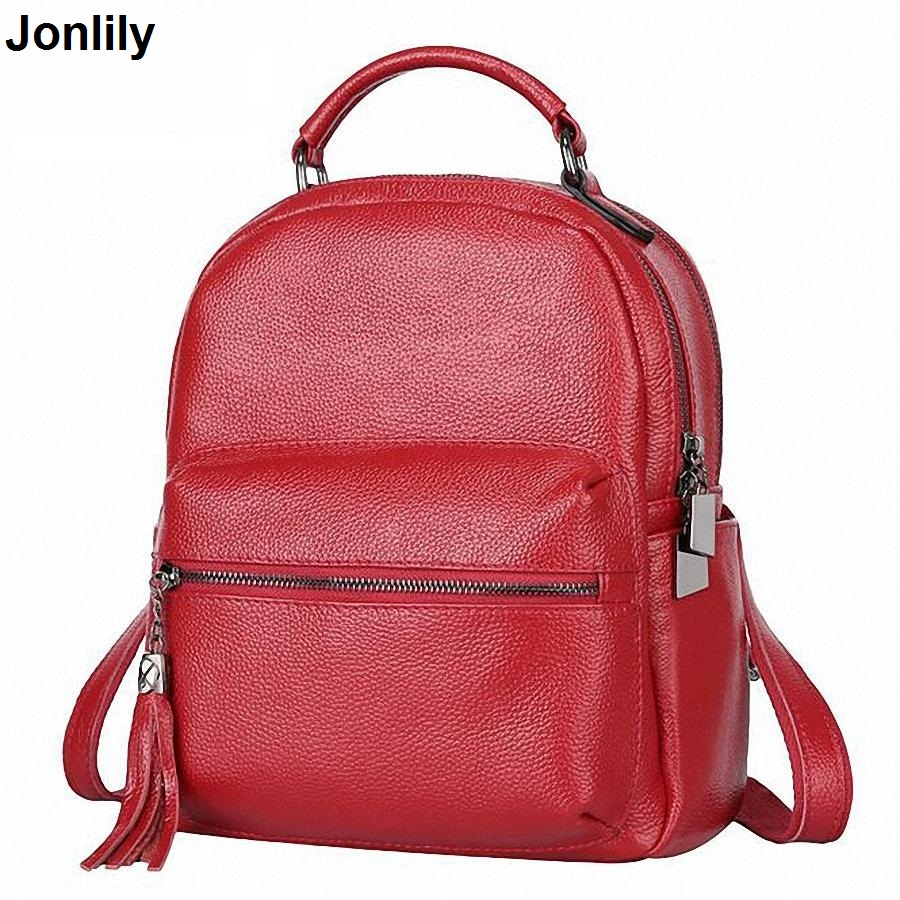 New Fashion Tassel Women Genuine Leather Backpack Women's Backpacks Girls Ladies Bags with Zippers School bags SLI-256 women genuine leather backpack women s backpacks for teenage girls ladies bags with zippers school bag mochila sli 281