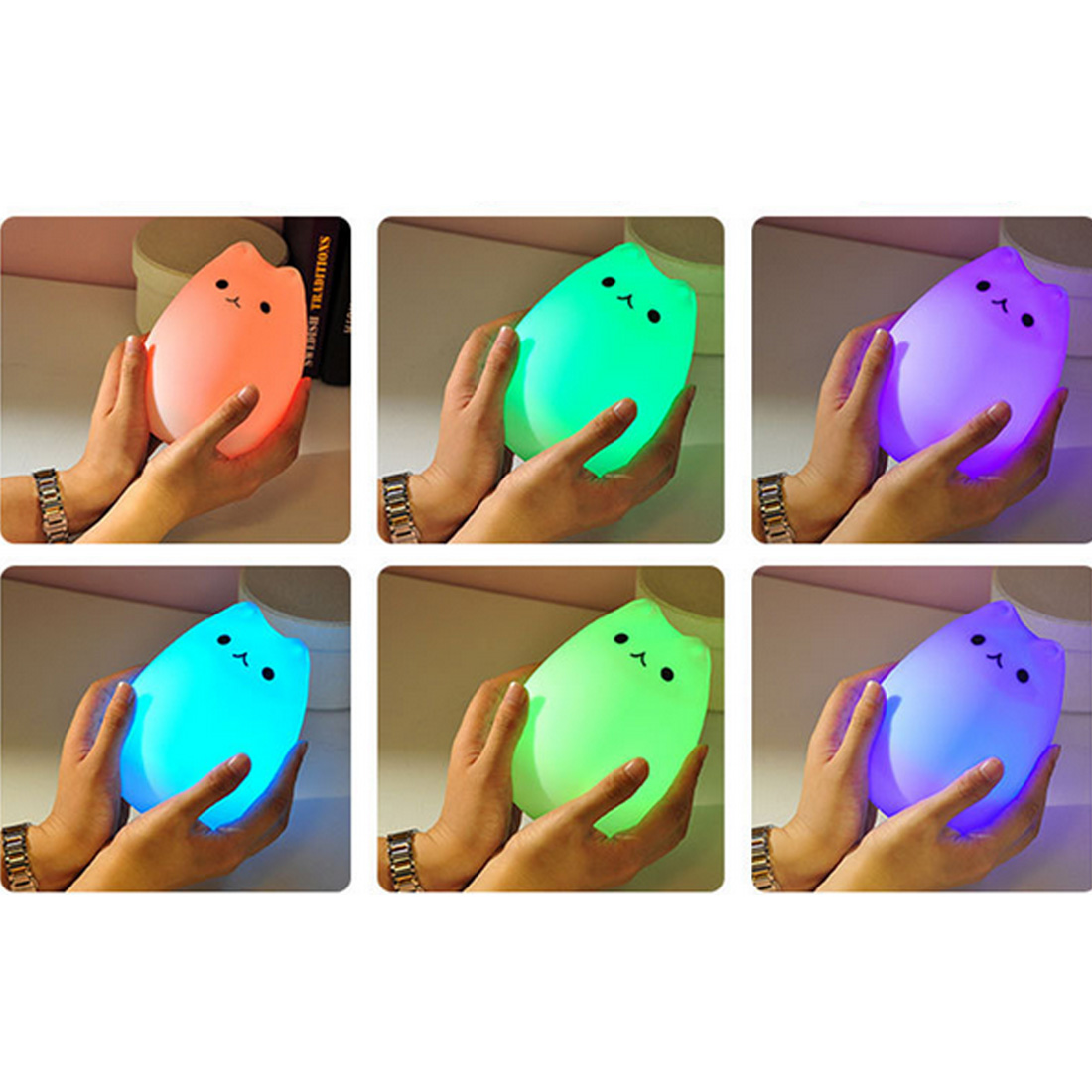 Bedroom Light 1pc Colorful Cat Silicone LED Night Light Rechargeable Touch Sensor Light 2 Modes Children Cute Night Lamp desk night lights baby room colorful cat silicone led night light rechargeable touch sensor light 2 modes children kids bed lamp