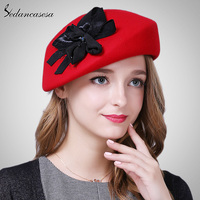 Sedancasesa New Korean Autumn Winter Lady Hat Female British Wool Beret Cap With Australian Wool Berets