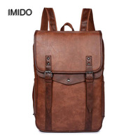 IMIDO PU Leather Men S Backpack Youth School Bags For Teenagers Male Black Color Fashion Travel