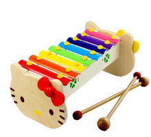New wooden toy Orff percussion,8 xylophone Cartoon kitten,children's early childhood educational toys Free shipping