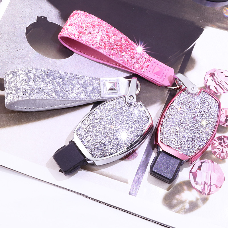 Diamond Car Key Cover Case For Mercedes Key Chain Keyring Benz W204 W205 W212 C E S GLA AMG ETC for Girls Women Gifts image