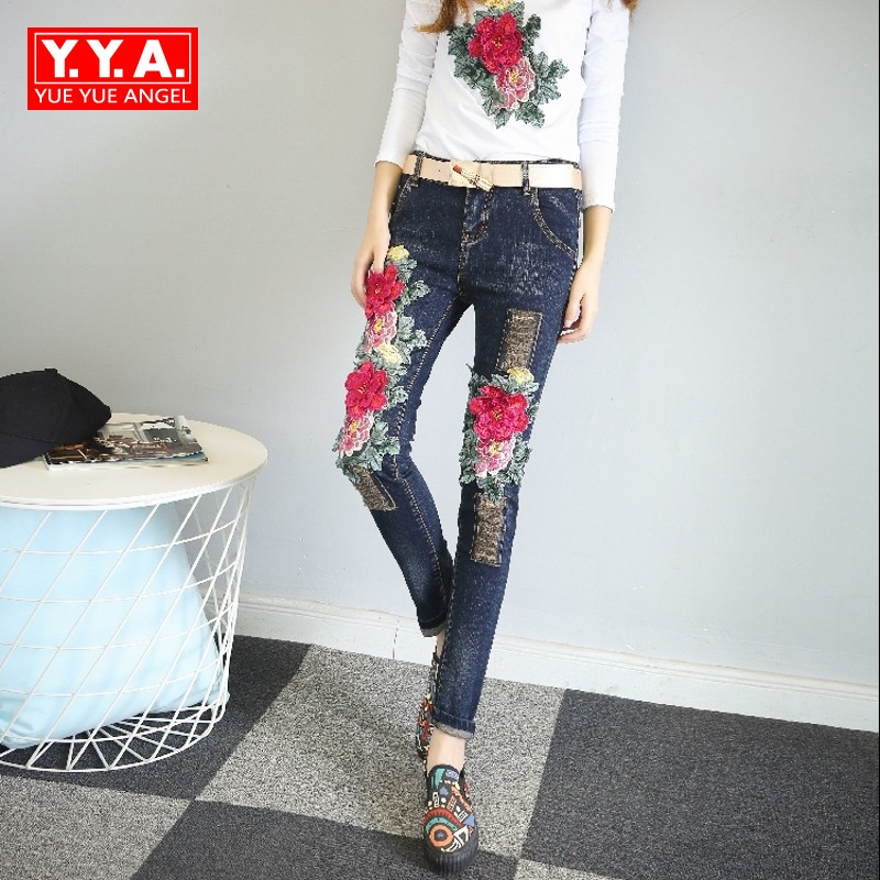 New  Indie Folk Mid Waist Embroidery Floral Patchwork Autumn Pantalon Mujer Ripped Retro Top Streetwear Denim Trousers For Women велосипед forward indie folk 1 0 18 2017 white