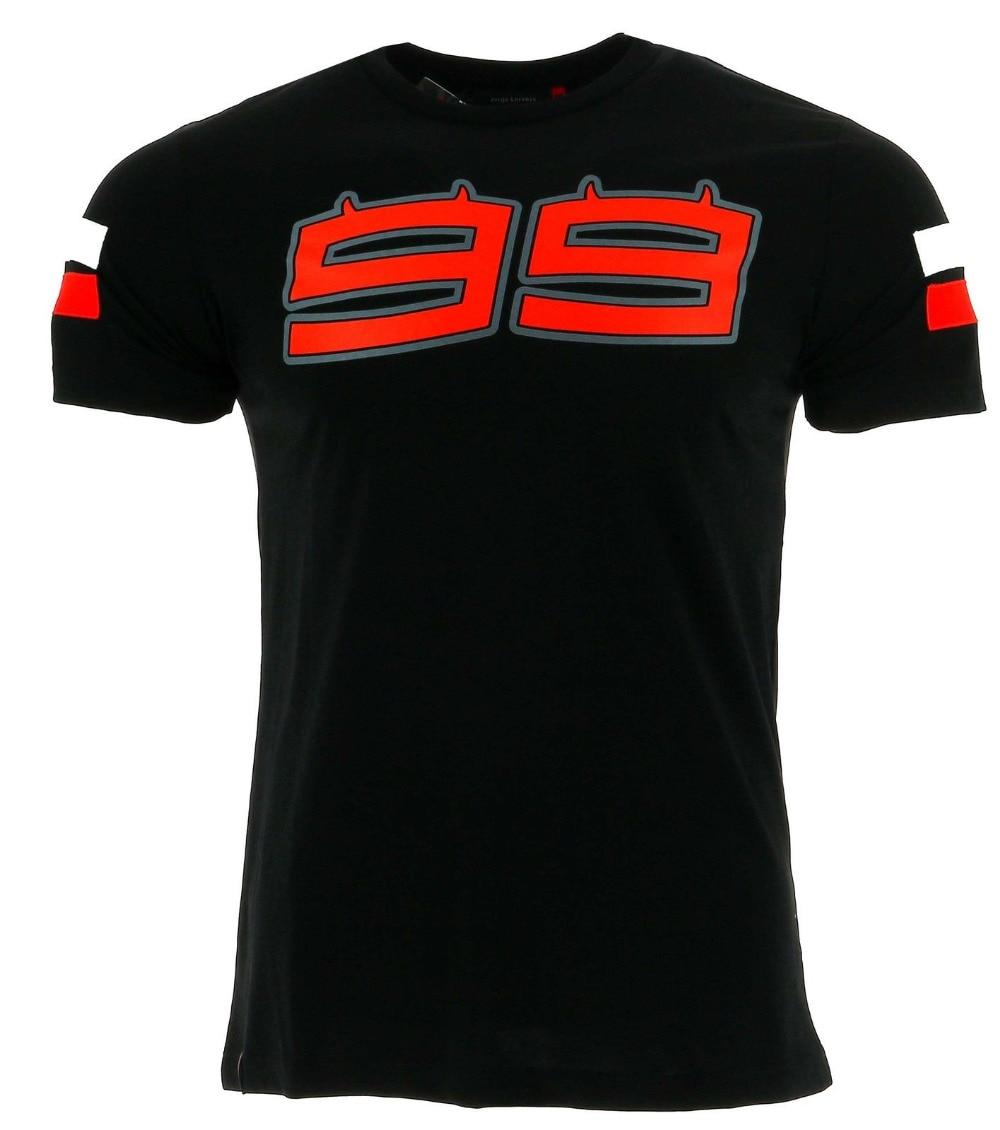 2017 jorge lorenzo 99 logotipo grande t-shirt dos homens de corrida de moto gp verão preto tee