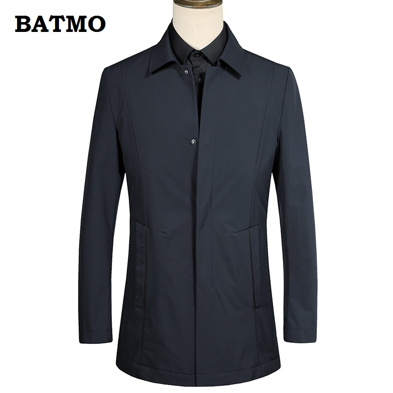 BATMO 2018 new arrival high quality casual Single Breasted   trench   coat men,men' Turn-down Collar jackets plus-size M-XXXL 18650