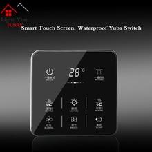 6 in 1 Multifunction Smart Touch Yuba Switch Socket Gang Bathroom Universal Waterproof Screen 86*86mm