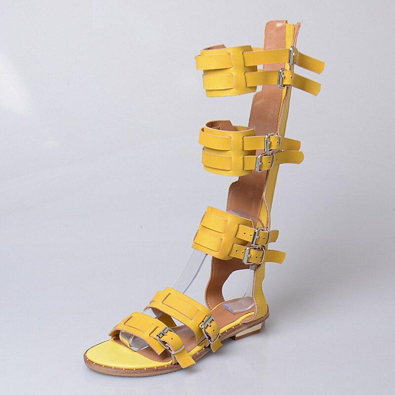 Gladiador wine Zapatos Estudiante Calidad Largas Genuino De Botas Mujeres Superior Zapato Prova yellow Caladas Retro Black Zip Hebilla Cuero Red Plano Sandalias Perfetto pSacp78R