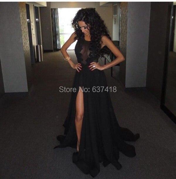 Черное платье для выпускного с кружевными аппликациями на бретельках пикантные с разрезом сбоку сексуальные длинные вечерние платья Vestido вечернее Longo
