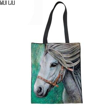 Linen Handbag Women Shoulder Bag 3D Horse Print Ladies Shopping Hand Bags Canvas Female Shopper Beach Bag for Girls Shopping bag rope canvas print beach bag