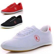 Парусиновая обувь для боевых искусств; цвет черный, белый, красный; обувь для китайского кунг-фу и спорта; обувь для мужчин и женщин