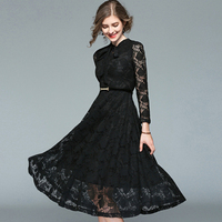 High Quality Black Color Lace Long Sleeved Autumn Dress Fashion Sweet OL Style Party Lady Elegant