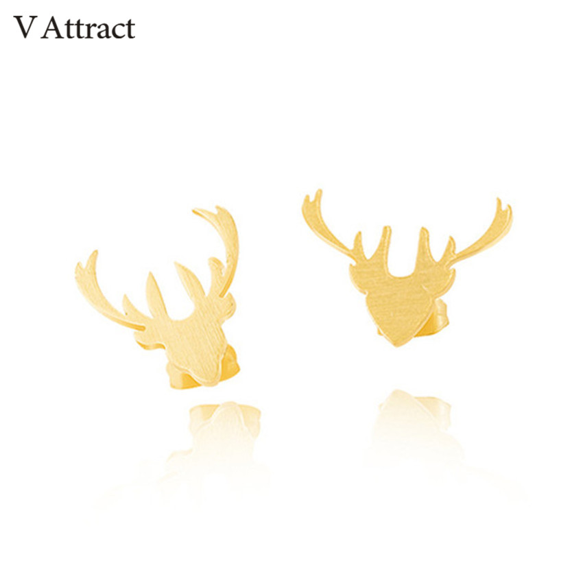 V Attract 2018 Gold Silver Deer Stud Earrings Gold Silver Stainless Steel Animal Brinco Masculino Women and Men Fashion Jewelry image