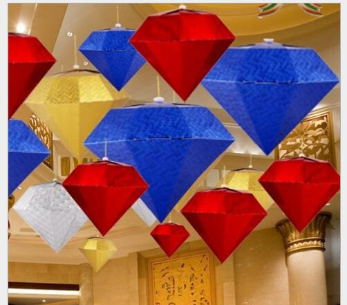 5pcs/lot 30cm Christmas three - dimensional diamond ornaments five - pointed bar bar kindergarten mall hanging ceiling ornaments