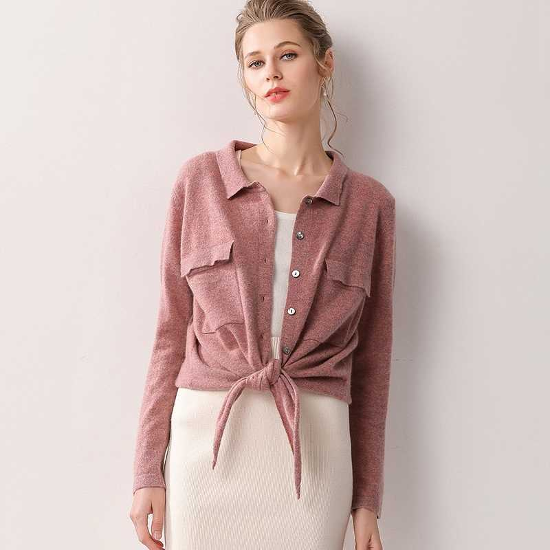 Women Jackets 100% Cashmere and Wool Knitting Cardigans Ladies  Cardigan Woman Clothes Girl Tops Soft Sweaters