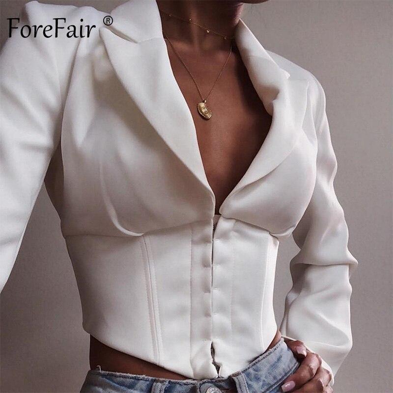 Forefair Short Elegant Blazer Women White Cropped Single Breasted Sexy Turn Down 2019 Autumn Winter Women Blazers And Jackets