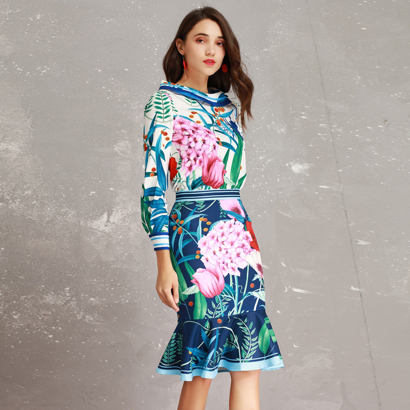 High end New 2019 Spring Summer Runway Designer Print Long Sleeve Large Collar Blouse Mermaid Skirt