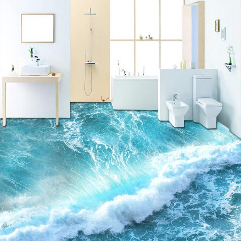 Custom Self-adhesive Floor Mural Wallpaper Modern Sea Wave 3D Floor Tiles Sticker Bathroom Bedroom PVC Waterproof Wall Paper 3 D