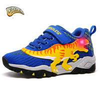 Dinoskulls Light Up Shoes Boys LED Sneakers 3D Dinosaur Glowing Children's Trainers Spring Breathable Running Sports Shoes