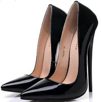 14/16 cm Sexy Heels Shoes women high heel shoes pumps pointed toes fashion lady wedding shoes big size 36 45