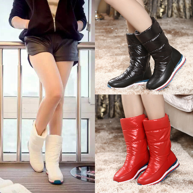 Winter Mid-calf Down Waterproof Snowboots Women Shoes 2017 Fashion Women Boots Black /White /Red рюкзак case logic 17 3 prevailer black prev217blk mid