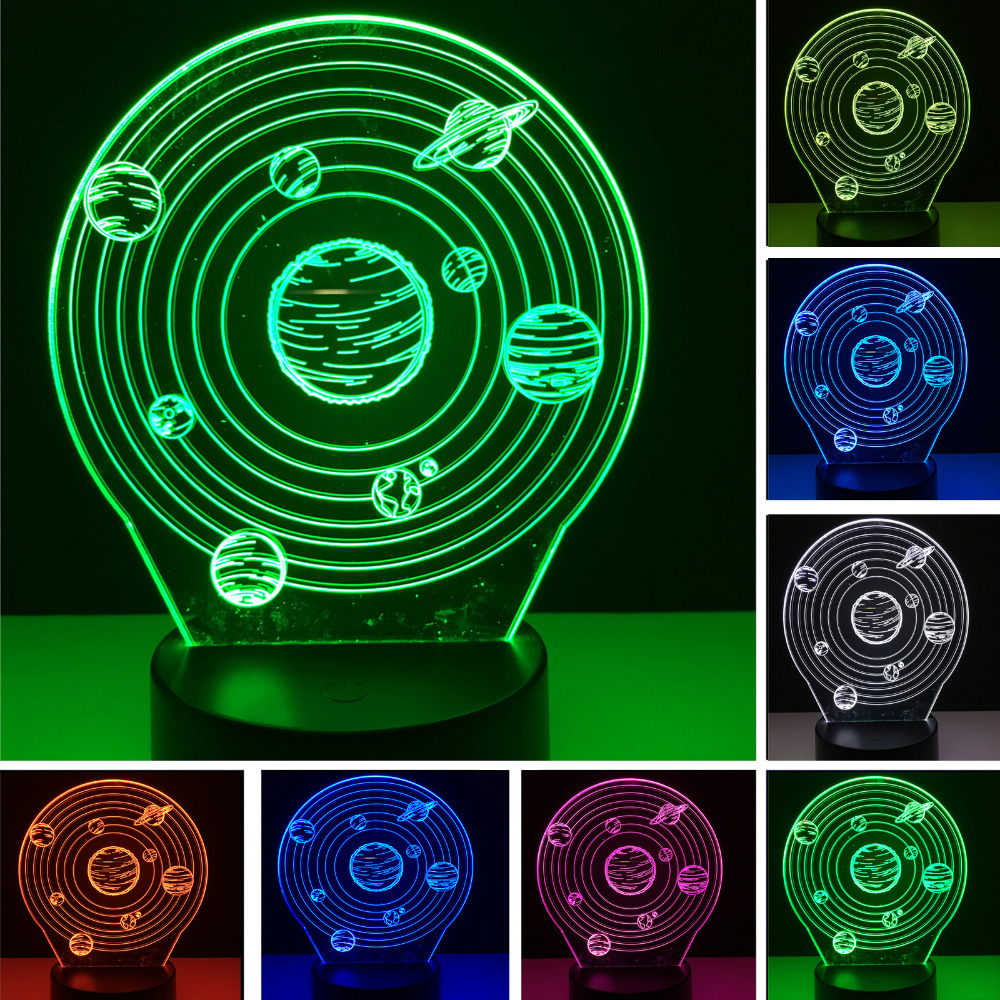 Creative 3D RGB illusion Universe Planet LED Night Lights Vision Colorful Atmosphere Lamp Novelty Gifts Child Kids Bedroom Decor
