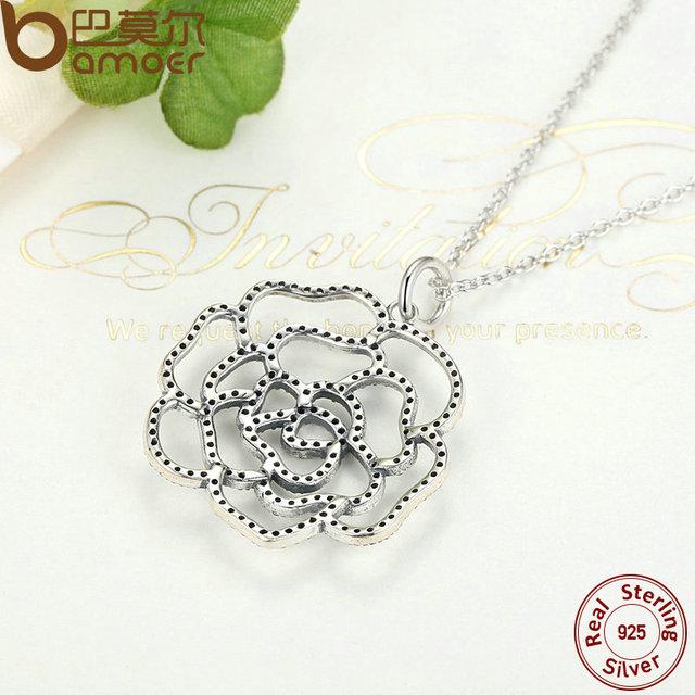 Sterling Silver Shimmering Rose Pendant Necklace